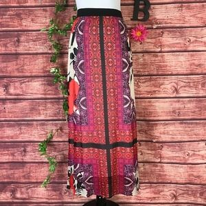 Chico's Skirt 8 10 1 Long Maxi Pink Paisley Boho